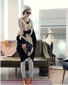 Fabulous Color Block Dolman Cropped Sleeves Irregular V Neck Long Pullover - BuyTrends.com