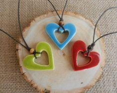 Items similar to Ceramic Heart Keychain, clay heart pottery heart keychain gift tag ceramic heart ornament stoneware handmade ceramics and pottery on Etsy