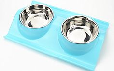 AIDLE Non-skid Pet Bowl Double Dog Bowls W-shape Bowl Round Stainless Steel Plastic Bottom Pet Food Bowls removable Pet Feeder -- Read more at the image link. (This is an affiliate link and I receive a commission for the sales) #DogCare