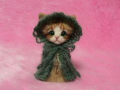 "Needle Felted Red Tabby Cat in Cape with Hood: Japanese ""Kokeshi"" Doll Style Miniature Needle Felt Cat, Needle Felting, Christmas Gift"