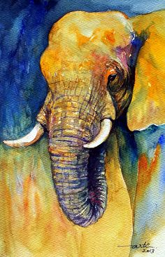 Animal Painting Original Watercolor Elephant