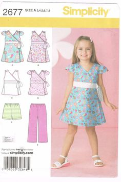 Simplicity 2677 - 2000s Sewing Pattern - Child's Dress, Top, Pants Or Shorts