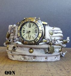 Distressed White Wrap Watch,  Women's leather watch,  I love this guy's work.