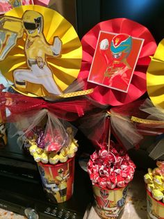red and yellow power rangers centerpieces