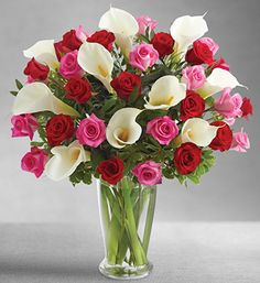 Vibrant Pink & Red Roses with Stunning Calla Lilies. Valentine Flower Arrangements, Valentines Flowers, Mothers Day Flowers, Floral Arrangements, Table Arrangements, Lys Calla, Calla Lillies, Calla Lily, 800 Flowers