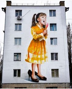 """A mural by @sashacorban in Kiev @blackappleart #streetart #graffiti #art…"