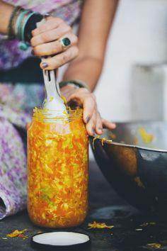 golden sauerkraut - wild fermented cabbage, carrot & turmeric