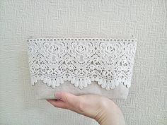Lace zip clutch bridesmaids clutch purse cosmetic pouch travel pouch natural linen blend clutch evening purse