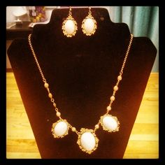 Matching necklace & earrings oval Ivory & Rose Gold Earrings $6 Necklace $16