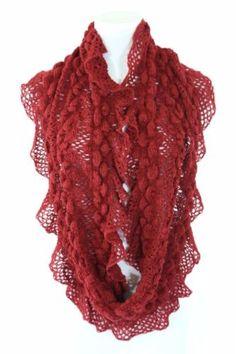 B138 Eternity Crochet Ruffle Lace Burgundy Red Super Soft Infinity Scarf