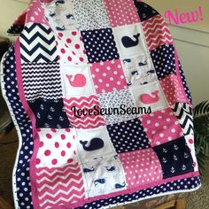 Nautical Quilt in Hot Pink & Navy! by Lovesewnseams on Etsy