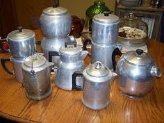 Vintage coffee pots - I have quite a few of these. Love 'em.