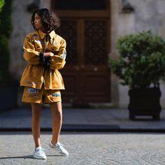 LEAH. @L_Ngls wearing @AdidasFr & @KTZ_Official during #Paris #HauteCouture #FW16 #Jaiperdumaveste  #NabileQuenum #StreetStyle  #AdidasOriginals #Paris #LeahDyAngeles #Gazelle