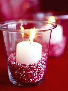 sprinkles in a candle...this could be done for any holiday.  I always wondered what I could do with all those sprinkles in my pantry!
