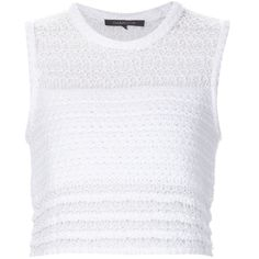 Thakoon Knitted Cropped Tank ($490) ❤ liked on Polyvore featuring tops, white, white top, white singlet, thakoon, white crop tank and white tank crop top