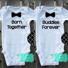Born Together Buddies Forever Infant Bodysuit Creeper Newborn Bodysuit Bow Tie Bodysuit Twin Shirt Twin Boys by littlebirdieandco