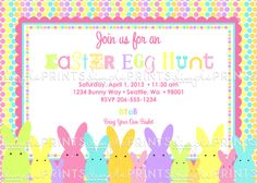 Easter Bunny Printable Invitation - Dimple Prints Shop
