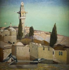 The Mount of Olives in Jerusalem -Tivadar-Kosztka-Csontváry-hungarian-painter- Vincent Van Gogh, Contemporary Artists, Modern Art, Holland Windmills, Mount Of Olives, Up House, Post Impressionism, Art Database, Oil Painting Reproductions