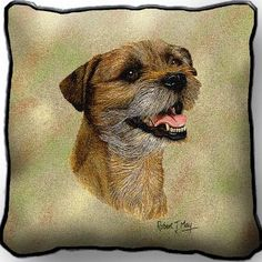 Border Terrier II Dog Portrait Art Tapestry Pillow