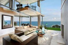 Open floor plan with ocean view