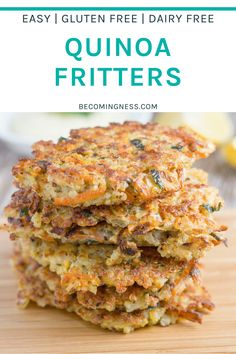 Quinoa Fritters make a great appetizer or as a light meal plus they are gluten free and dairy free. They go really well with healthy garlic aioli! Yummy Healthy Snacks, Easy Healthy Recipes, Crockpot Recipes, Whole Food Recipes, Vegetarian Recipes, Cooking Recipes, Healthy Food, Healthy Eating, Garlic Aioli