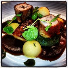 Duo of pork, Parma ham wrapped fillet, maple roasted belly, cider potatoes, wild garlic and sage jus. #food #harrogate www.tanninlevel.co.uk
