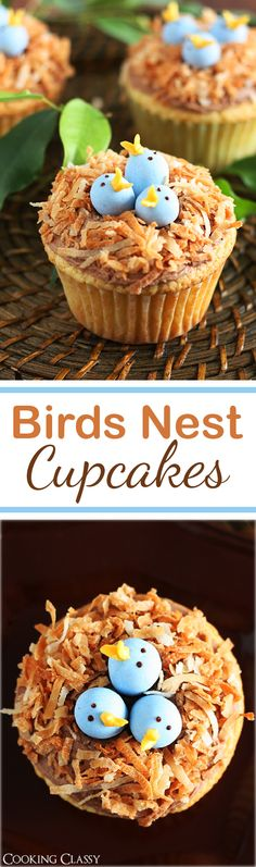 Birds Nest Cupcakes - these are so fun! Vanilla cupcake, chocolate buttercream, toasted coconut and cadbury eggs.