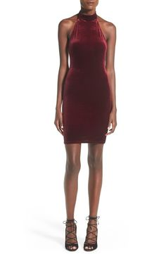A halter mock neckline shows off your shoulders and back in a figure-flaunting body-con dress crafted from sumptuous velvet.@nordstrom