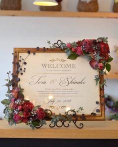 アンティークモダンな会場に合わせてお作りしたウェルカムボード Welcome To Our Wedding, Plan Your Wedding, Flower Backdrop, Flower Wall, Wedding Vows, Wedding Reception, Table Planner, Welcome Boards, Wedding Confetti
