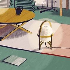CESTA - table and floor lamp, designed by Miguel Milá. Photo by: @ananarevuelta: Detail of a project I did for Santa&Ecole market. It was a challenge to do something different from my painting style, but I'm happy with the result! @santacole #illustration #illustrationbarcelona #digitalillustration #digitalpainting #digitalart #painting #drawing #instaart #inspiration #illustrationoftheday #illustrator #santacole #industrialdesing #forniture #autum #colors #textures #home #market