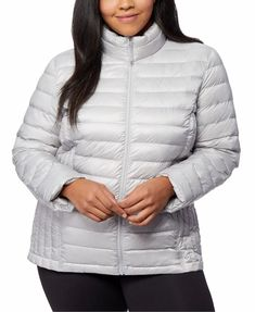 Plus Size Silver Gray Down Packable Puffer Jacket Women's. Women's Sliver Gray Winter Puffer Coat Plus Size. 32 Degrees gray plus size puffer coat designed with a cozy fill and stand collar.