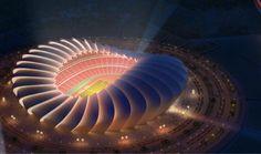IRAQ - Stadium and Arena Development News - Página 11 - SkyscraperCity Stadium Architecture, Zaha Hadid Architecture, Retail Architecture, Futuristic Architecture, Amazing Architecture, Art And Architecture, World Of Wearable Art, Soccer Stadium, Facade Lighting