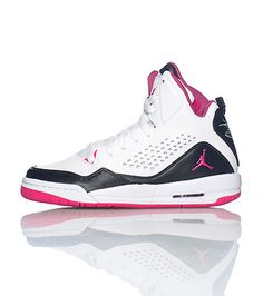 JORDAN high top girl's sneaker Lace up closure Cushioned inner sole for comfort Padded tongue with pink jumpman logo - $90.00