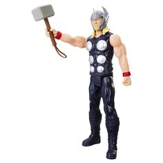 Marvel Titan Hero Series 12-inch Thor Figure. Classic Marvel Titan Hero. 12-inch action figures with 5-point articulation. Create Titan-sized action figure battles. Includes figure and hammer.