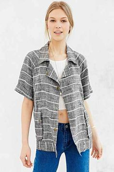 COPE Striped Linen Moto Jacket