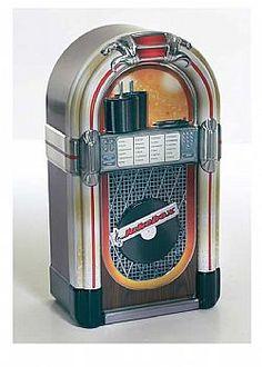 DCSE tin jukebox, metal, Βrown/multi coloured.