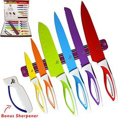 Color Knife Set  Top Stainless Steel Knife Set  Gift Set in Box by LeDishTM  Includes Chef Bread Slicer Santoku Utility Paring Knife  PLUS Magnetic Strip and Professional Sharpener