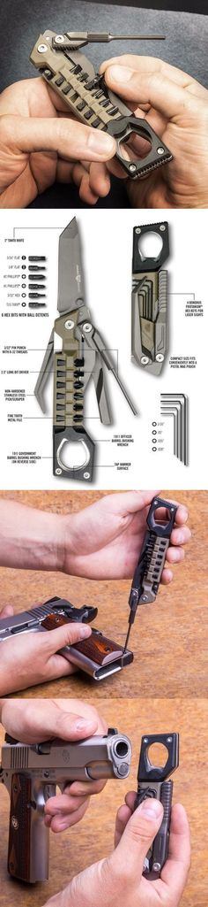 Real Avid Pistol Tool Real Avid The Pistol Tool. The Number of Tasks the Hand Gun Pistol Tool Can Handle is Astounding: Mounting Accessories, Field Disassembly, Adjusting Laser Sights, and Changing Grips are Only a Few Things This Tool Can Do. Gadgets Edc, Materiel Camping, Survival Tools, Survival Stuff, Wilderness Survival, Survival Weapons, Tactical Survival, Survival Equipment, Camping Equipment