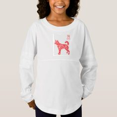 Dog Custom Girls' Spirit Jersey Shirt - red gifts color style cyo diy personalize unique