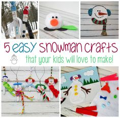 5 Easy Snowman Crafts for Kids. Great to make while watching the kid's DVD: The Snowman! From: Amanda Formaro, Crafts by Amanda Holiday Crafts For Kids, Christmas Activities, Xmas Crafts, Craft Activities, Fun Crafts, Nanny Activities, Winter Fun, Winter Theme, Winter Craft