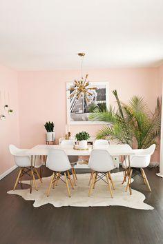 59 Cozy Asian Dining Room Design Ideas - Simple Home Design Images Pink Dining Rooms, Dining Room Paint, Dining Room Design, Dining Room Furniture, Dinner Room, Home Interior Design, Room Inspiration, Living Room Decor, Room Tour