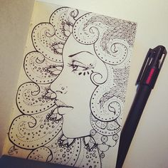 srj_art's photo on Instagram - sketchbook doodles, face, portrait, pointillism, pen & ink, drawing, psychedelic, motif, design