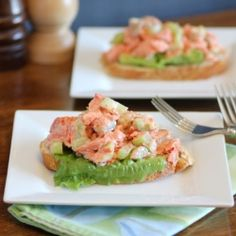 Open Faced Salmon Salad Sandwiches