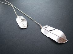 Feather Necklace Lariat Sterling Silver by ohdeercreations on Etsy, $29.00