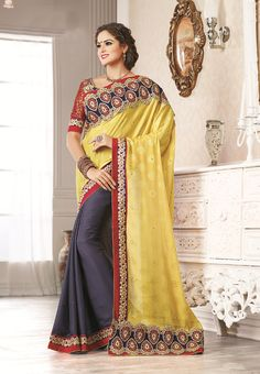 Yellow and Gray #silk #designer #partywearsaree with black - red embroidery  border