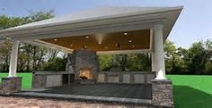 close-up view of the cabana. Included in this cabana are a grill ...