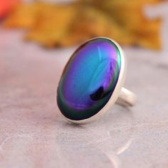 Vintage glass ring - Irish blue ring - Cabochon ring - Oval ring - Bezel ring - Rings for women - Gift for her