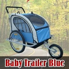Frugah NEW 2in1 Double Baby Bike Bicycle Trailer Stroller Blue with Hand Brake System,$120.97