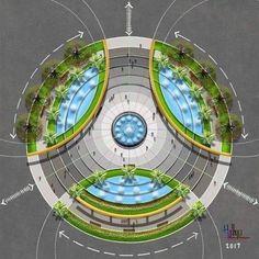 Landscape Plaza, Landscape Architecture Drawing, Landscape Design Plans, Architecture Concept Diagram, Architecture Plan, Urban Landscape, Classical Architecture, Ancient Architecture, Sustainable Architecture