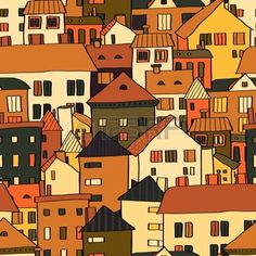 Panorama town various buildings in brown seamless pattern, vector photo